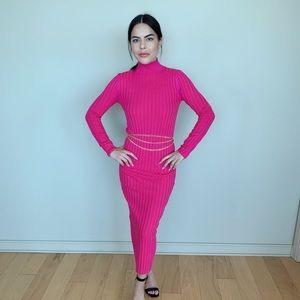 Zara turtle neck hot pink knit sweater dress